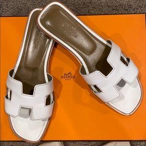 Hermes Oran Sandals - WHITE - Size 6